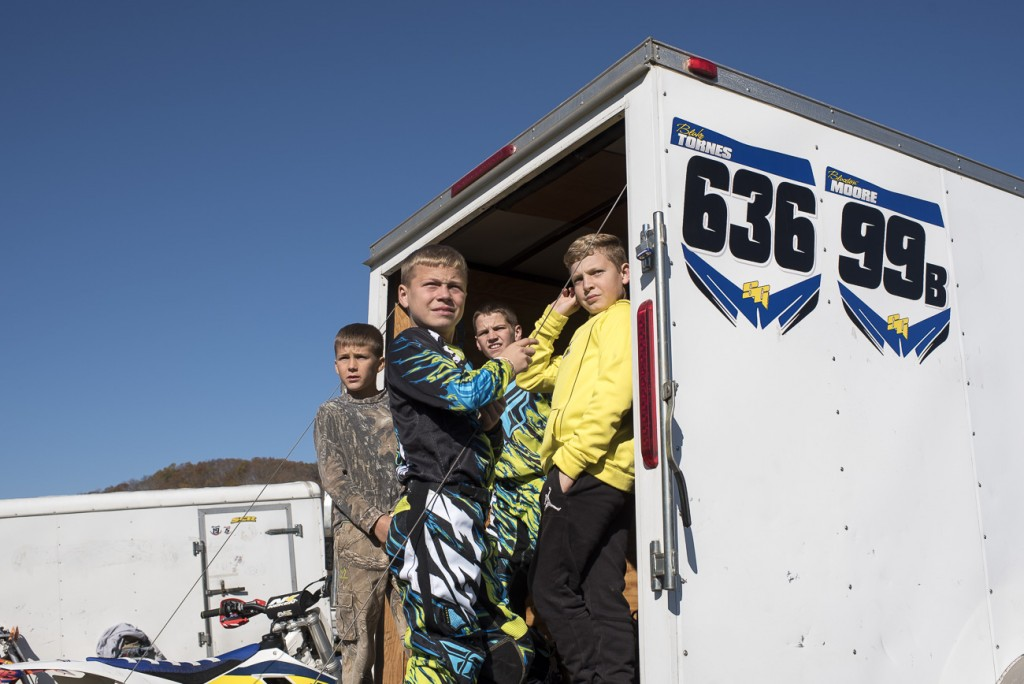 Joseph Cunningham and friends wait to race from their trailer at FastTraxx Racing in Nelsonville, Ohio on November 11, 2016.