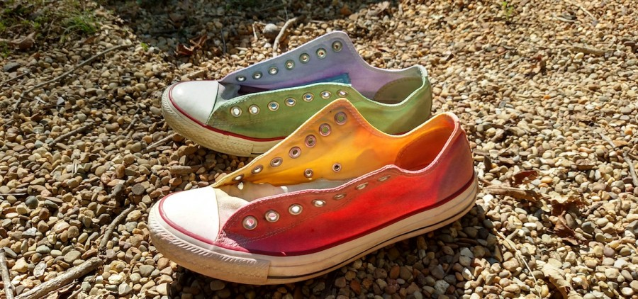 """""""Rainbow Chucks"""" by Nancy Baur, one of the submissions to ARTS/West's """"For the Love of Athens County"""" exhibition. (Submitted)"""