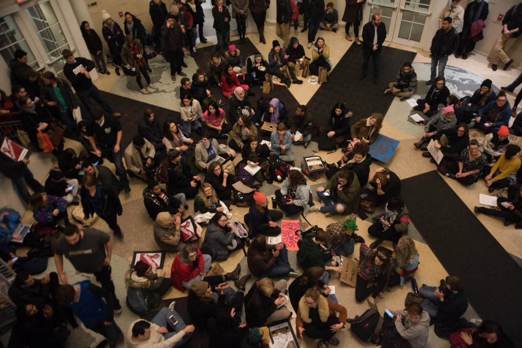 Students and Athens community members gathered in Ohio University's baker Center to listen to stories and pleas of fellow students. The protest was held on February 1, 2017 in Athens, Ohio. (Meagan Hall/WOUB)