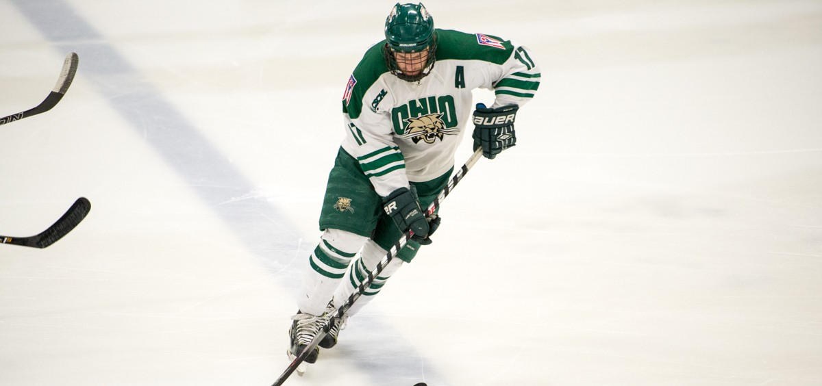 Ohio University player, Jake Faiella, with the puck in Bird Arena at Ohio University in Athens, Ohio, on February 3, 2017. The bobcats won 9-0.