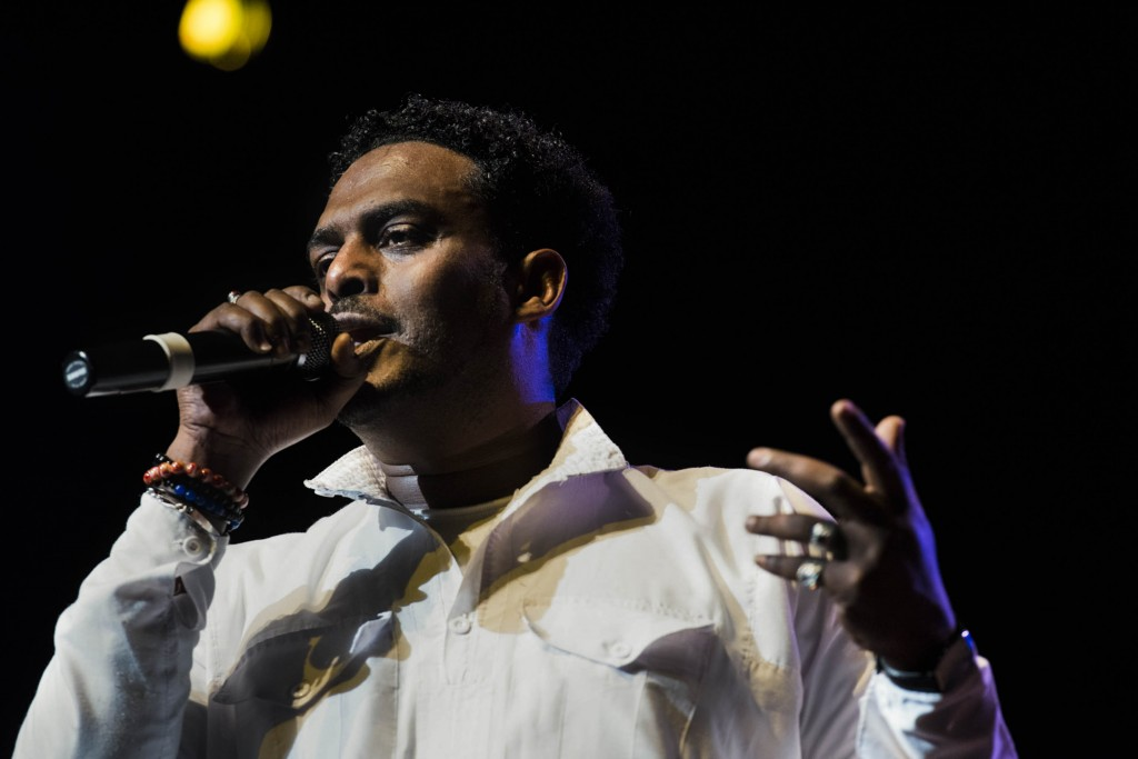 Asrat Ayalew, of Ethiopia, also interacts with the audience frequently throught The Nile Project's performance. (Meagan Hall/ WOUB)