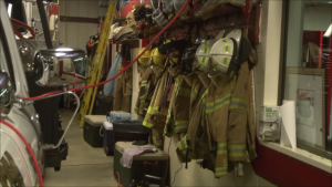 Equipment hanging inside the Richland Area Fire Department.