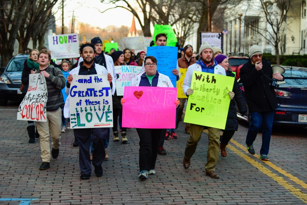 Protesters speak out for international students in the Healthcare Allies Asylum March in Athens, Ohio on February 3, 2017 (Robert Green/WOUB)