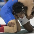 In a rematch, Shakur Laney wrestles American's Josh Terao on senior day. (Robert McGraw/WOUB)