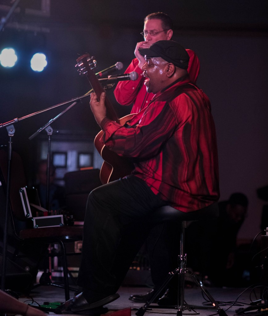 """Luther and Cedric """"Lightning Blues"""" perform at the 25th annual Blues Competition held at the Lafayette Hotel in Marietta, OH on Feb. 18, 2017. (WOUB/Drake Withers)"""