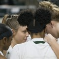 Yamonie Jenkins, Taylor Agler, Quiera Lampkins, and Kelly Karlis fine-tune the strategy before tip-off against Central Michigan at the Convocation Center, Wednesday night, February 15, 2017. (Margo Sabec/WOUB)