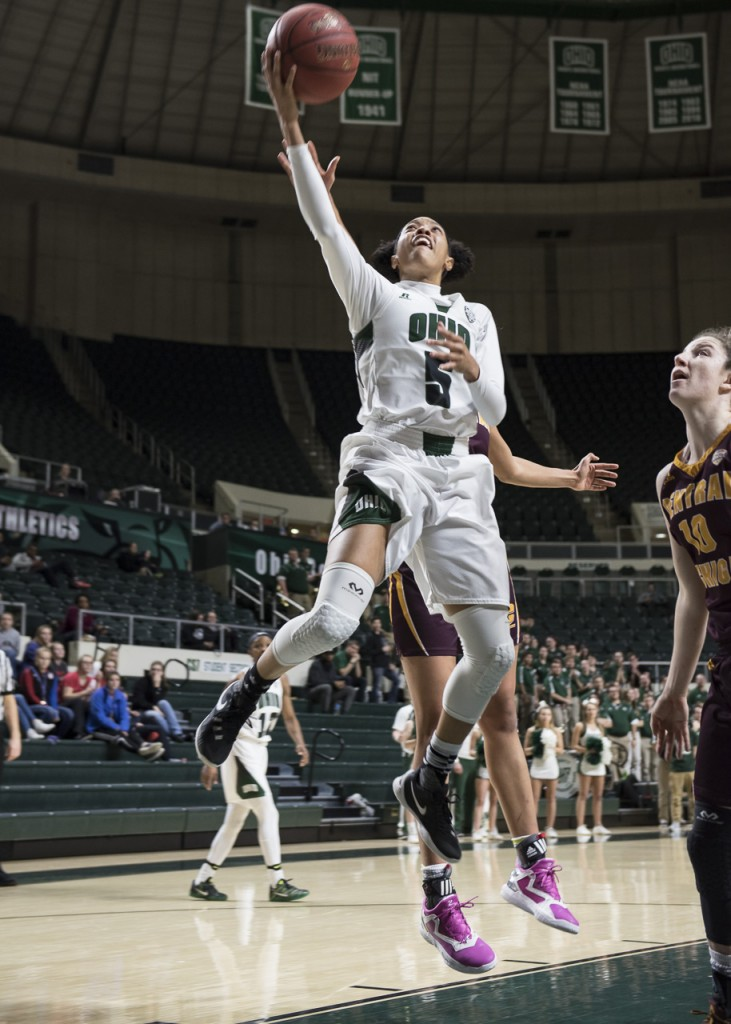 Despite Quiara Lampkin's scoring a season high 32 points, the Bobcats lost to Central Michigan 64-70 Wednesday night, February 15, 2017, in a hard battle at the Convocation Center in Athens, Ohio. (Margo Sabec/WOUB)