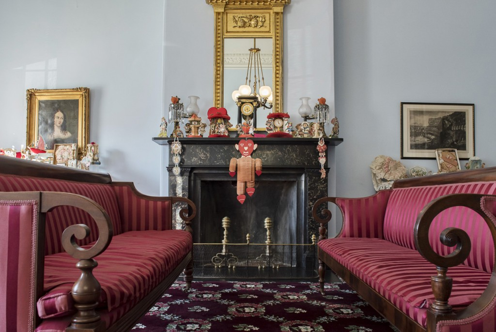 Vintage valentines adore the parlor of the historic Reese-Peters House. (WOUB/Margo Sabec)