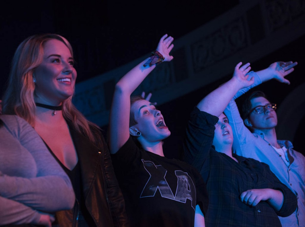 Fans of X Ambassadors wave their arms in sync with the performance on Monday, March 21, 2017. (Meagan Hall/WOUB)