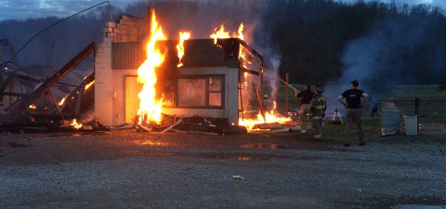 The burning house at 6 p.m.  The fire was cleared around midnight.
