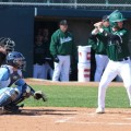 An OU baseball player steps to the plate during a game