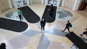 Carla Serrano in the middle of Baker Center's forth floor where she got arrested.