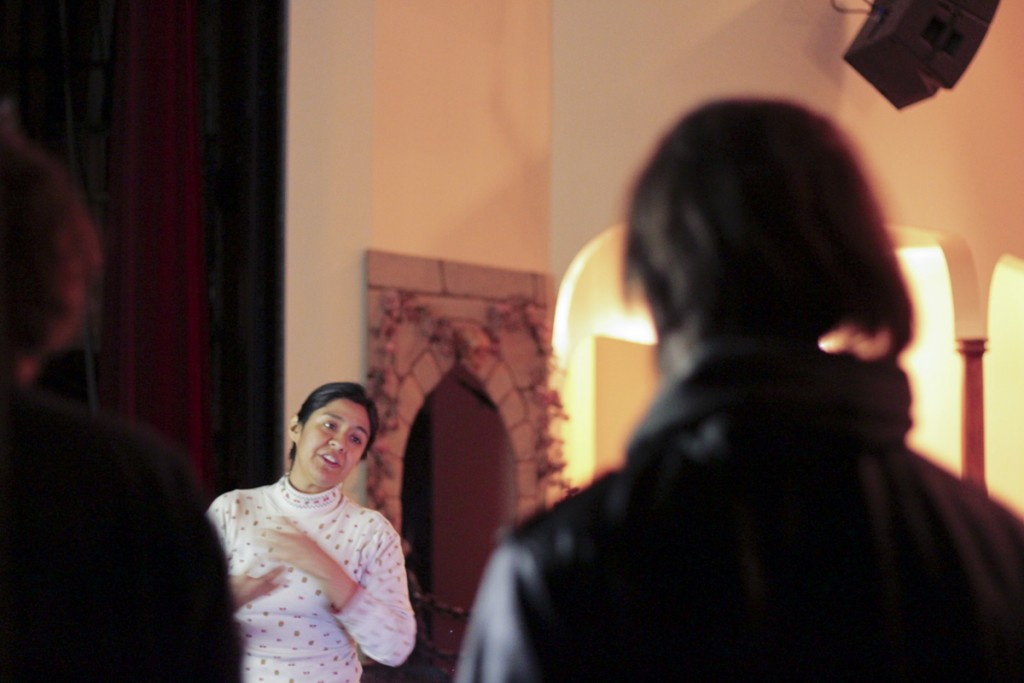 Artist Maria Chavez at Stuart's Opera House in Nelsonville. (Marie Swartz/WOUB)