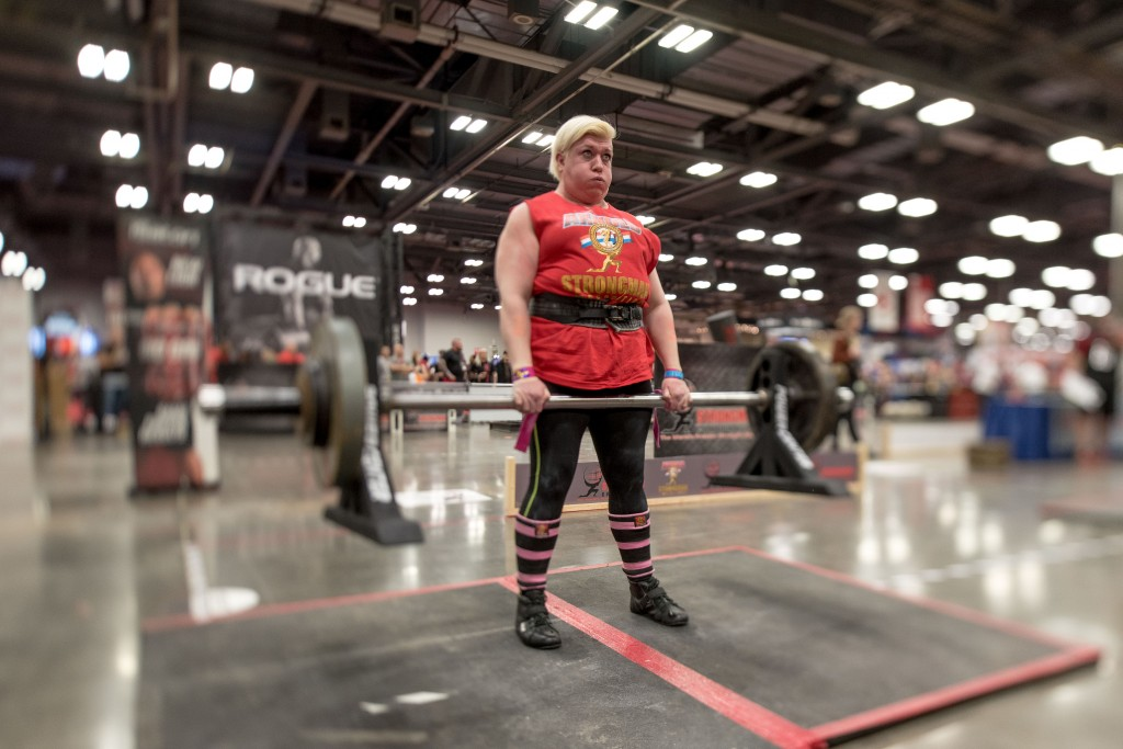 Anna Harjapaa of Sweden competes in the deadlift at the Women's Strongman. (Nickolas Oatley/WOUB)