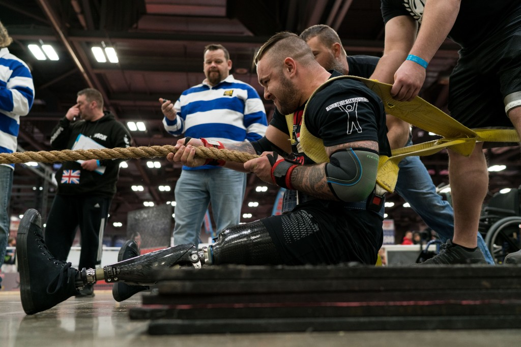 A man competes in the Disabled Arnold Strongman competition on Sunday, March 5. (Nickolas Oatley/WOUB)