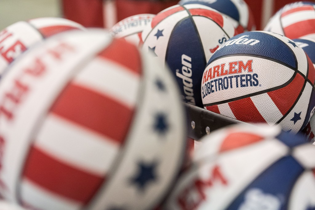 Baskets are filled with the signature Harlem Globetrotters basketball. (Nickolas Oatley/WOUB)