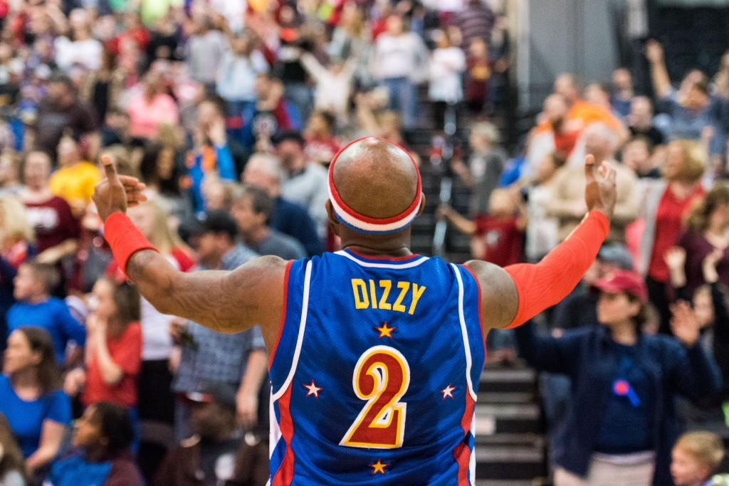 """""""Dizzy"""" pumps up the crowd for the T-shirt gun at the Big Sandy Superstore Arena on Wednesday, March 1st. (Nickolas Oatley/WOUB)"""