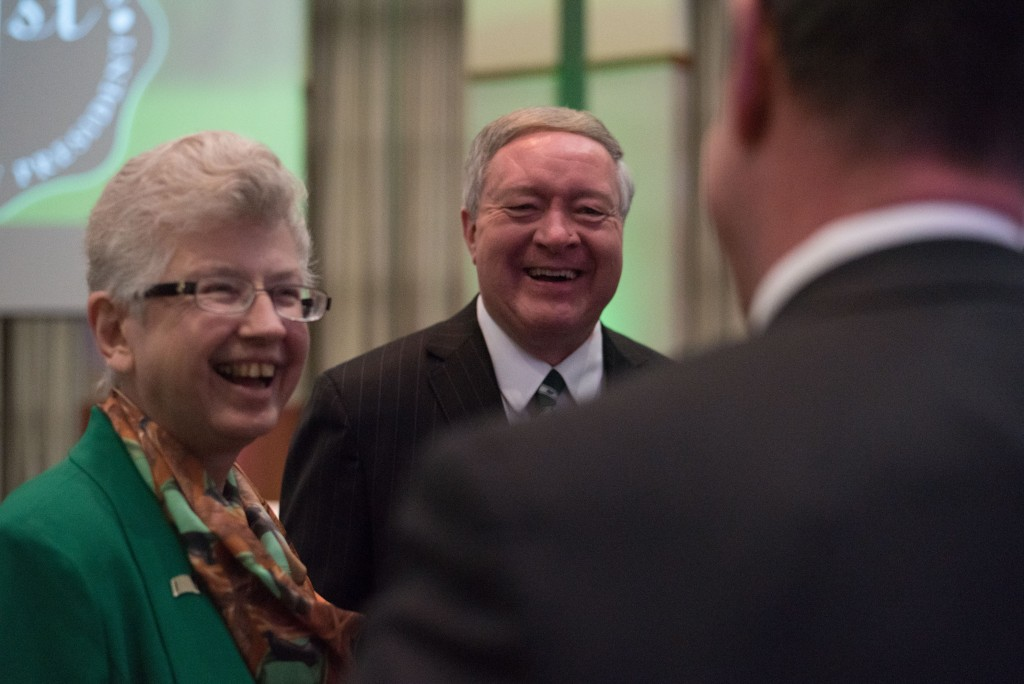 Newly appointed Ohio University President Duane Nellis and First Lady Ruthie Nellis meet with Ohio University student, faculty and community members. (Nickolas Oatley/WOUB)