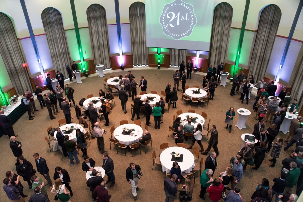 Members of the Ohio University community gather to meet for the 21st Presidential Welcome Reception at Walter Hall Rotunda in Athens, Ohio on Friday, March 17. (Nickolas Oatley/WOUB)