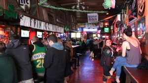 The CI bar adorned with Saint Patrick's Day  decoration.