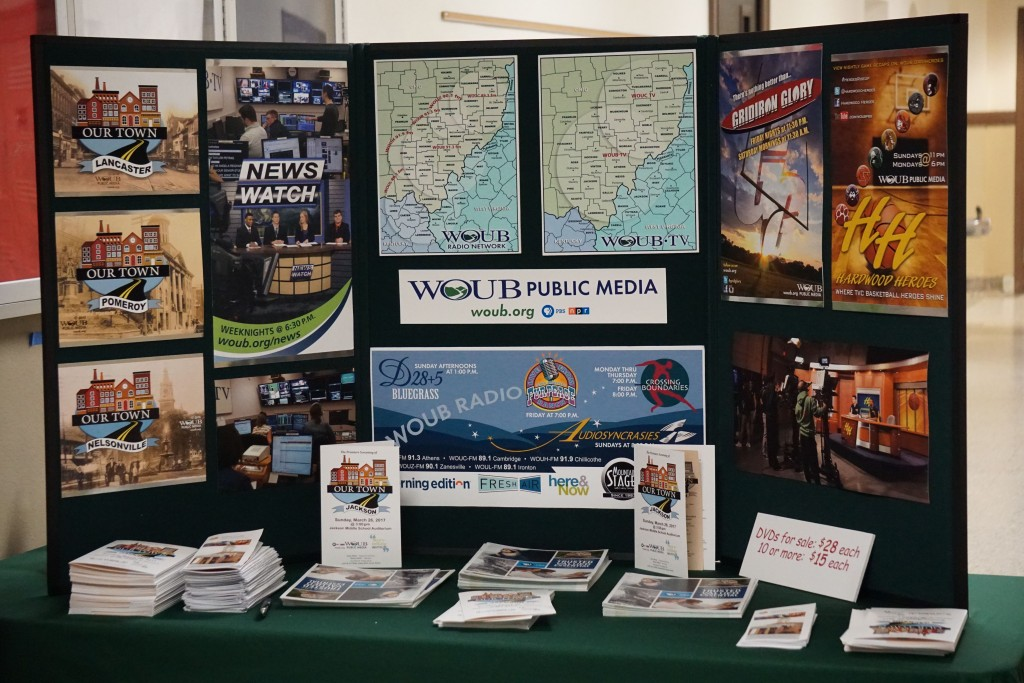 """WOUB's display at the screening of """"Our Town: Jackson."""" (Liz Shaw/WOUB)"""