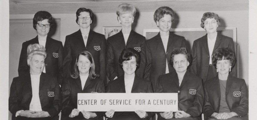 A group of female employees poses during the celebration of Vinton County National Bank's 100th anniversary in 1967. The bank pioneered employing females in the banking industry. (Submitted)