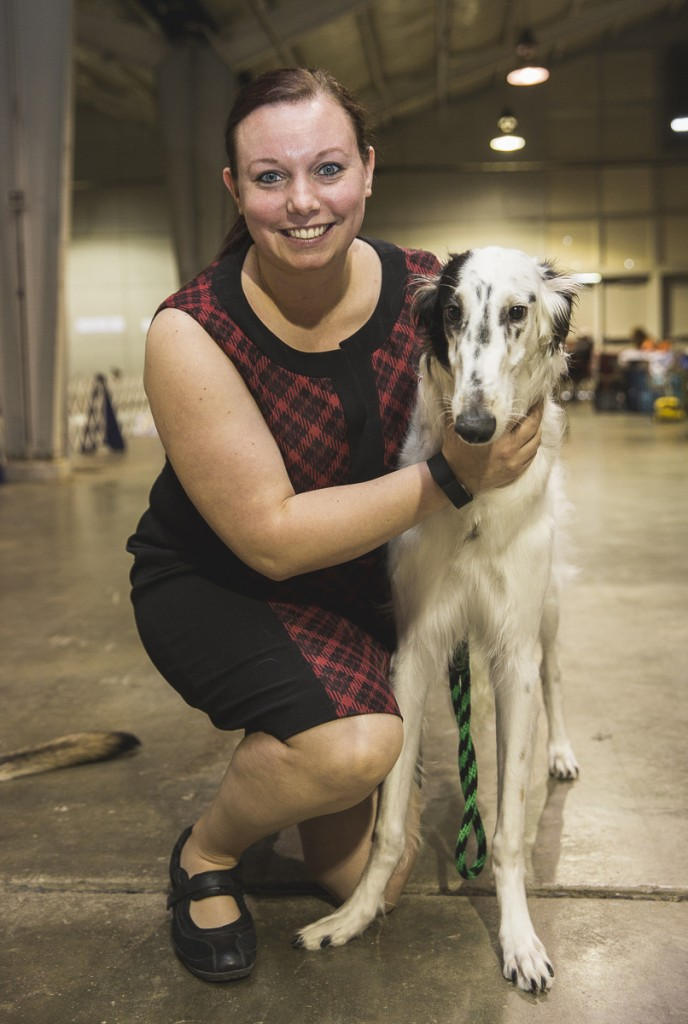 Kayla Fields, poses with Harper, a 10-month-old Borzoi. (Erin Clark/WOUB)