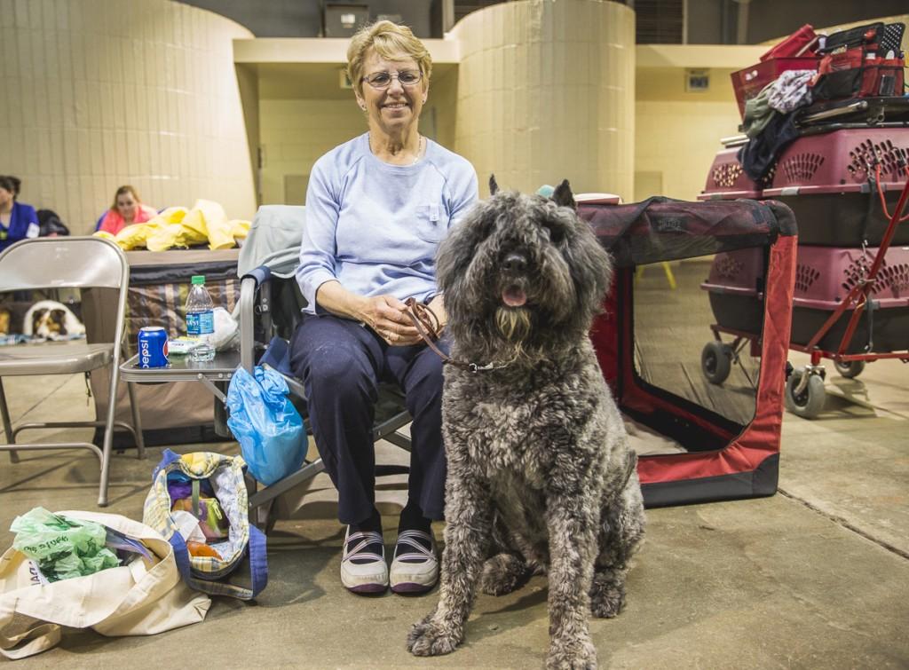 Cheryl Valasik, of Medina, Ohio, poses with Brio, a Bouvier de Flanders. (Erin Clark/WOUB)