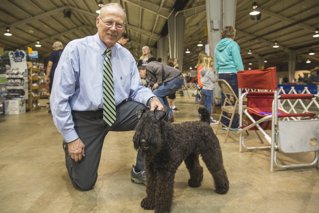 Chris Cline, of Dublin, Ohio, poses with Ciara, a Kerry Blue Terrier. Ciara is the only breed of her kind participating in the show. (Erin Clark/WOUB)