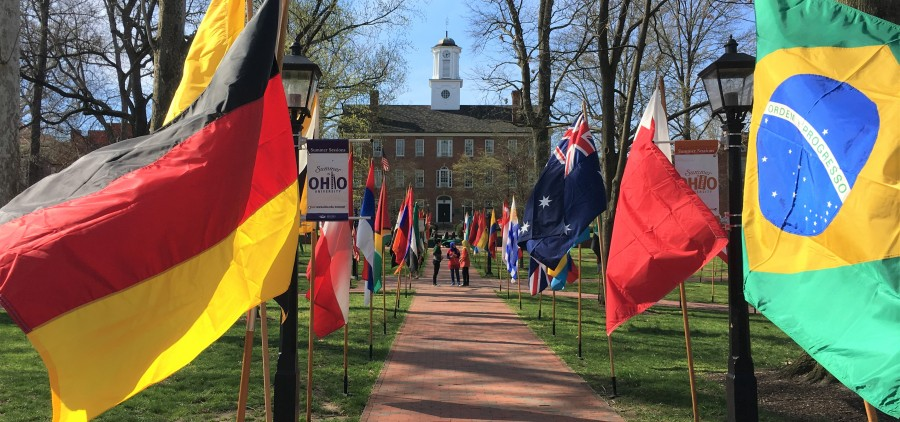Each year the Internationals Student Union (ISU) sets up more than 100 flags on College Green.