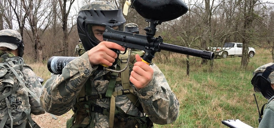 ROTC cadet patrolling on the Radar Hill Trail.
