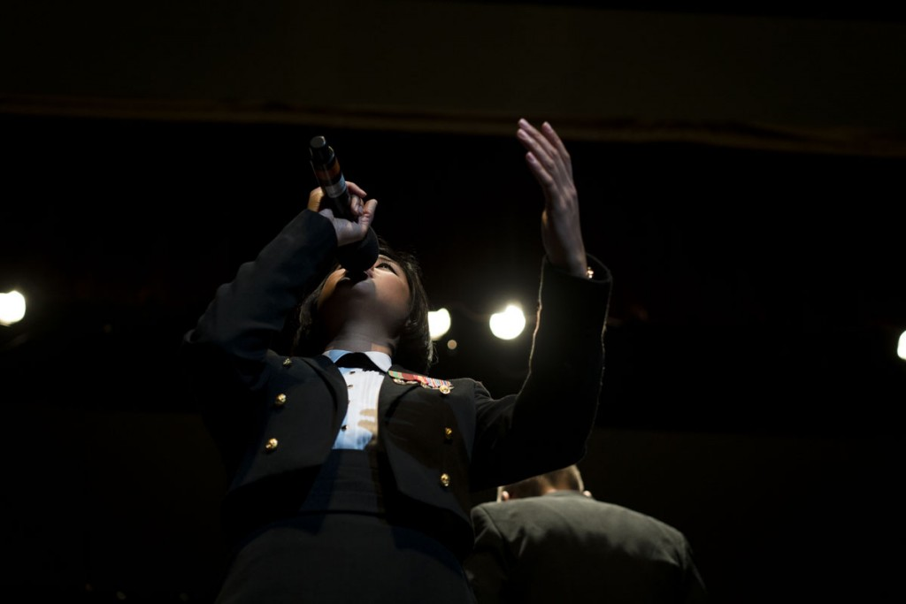 A featured musician performs during one of the U.S. Navy Band's chosen songs at Ohio University. (Michael Swensen/WOUB)