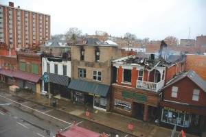A fire tore through buildings on W Union Street in 2014. Construction to rebuild the damaged property finished in late Febraury.