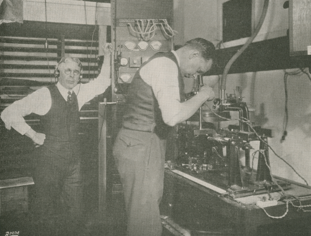 Charles L. Hibbard and Peter P. Decker, engineers from Okeh Records, with Western Electric Amplifier and Cutting Lathe. (Maida Vale Musi)
