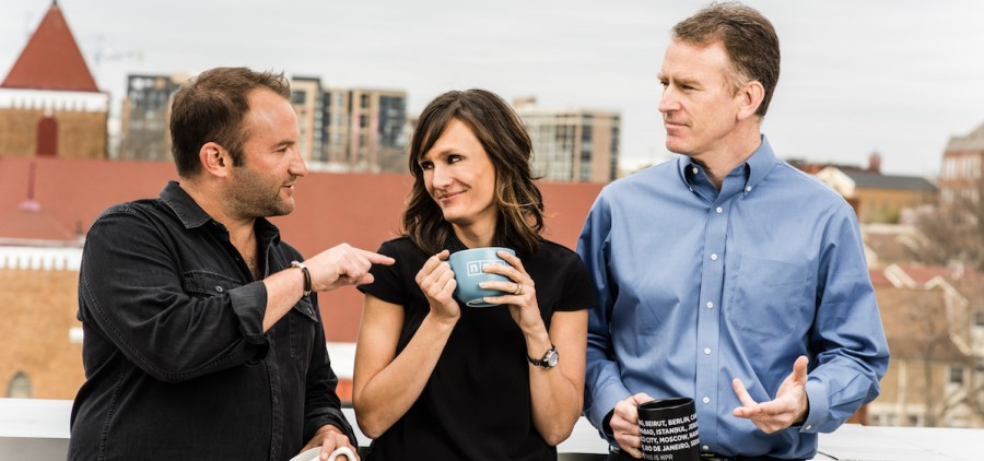 David Greene, Rachel Martin and Steve Inskeep, hosts of Morning Edition and Up First.