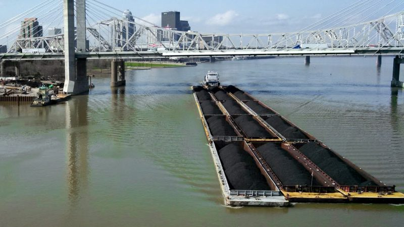 A coal barge on the Ohio River in Louisville. (Jeff Young/ Ohio Valley ReSource)