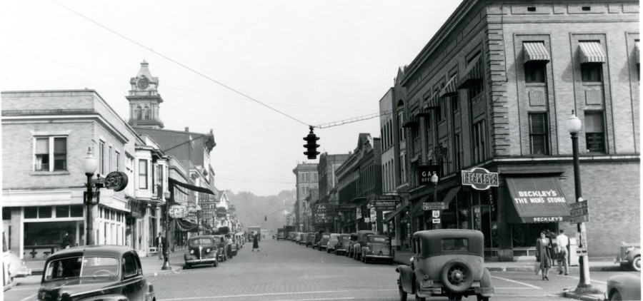 A photo of the intersection of Union and Court Streets, taken in the '40s. (Photo courtesy of the Southeast Ohio History Center)