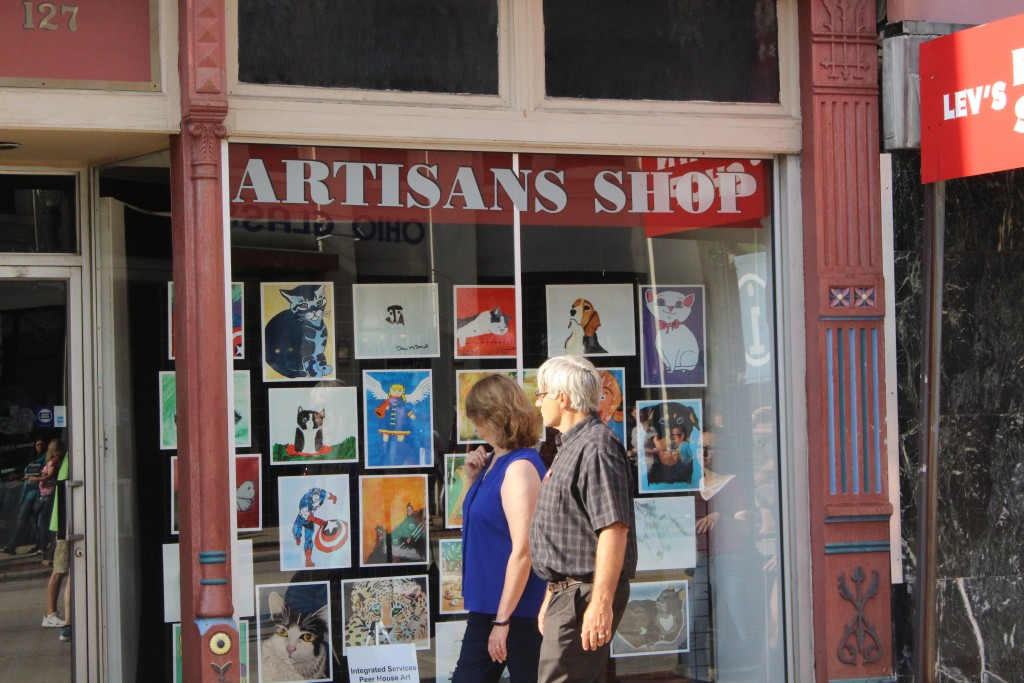 Art was on display everywhere throughout the 2017 Lancaster Festival Artwalk. (WOUB/Emily Votaw)