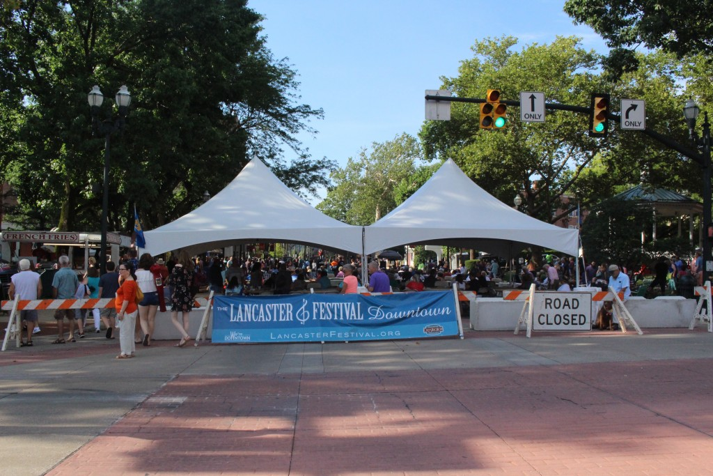 The banner for the 2017 Lancaster Festival. (WOUB/Emily Votaw)