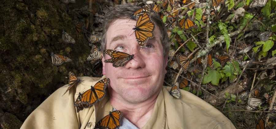 Joel Sartore on assignment at Sierra Chincua (Chincua Mountain) in Mexico, a wintering spot for monarch butterflies.