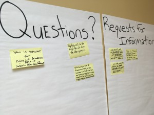 Questions and requests posted outside the Washington State Community College auditorium, where several panels discussed connectivity in rural regions. Susan Tebben / WOUB News