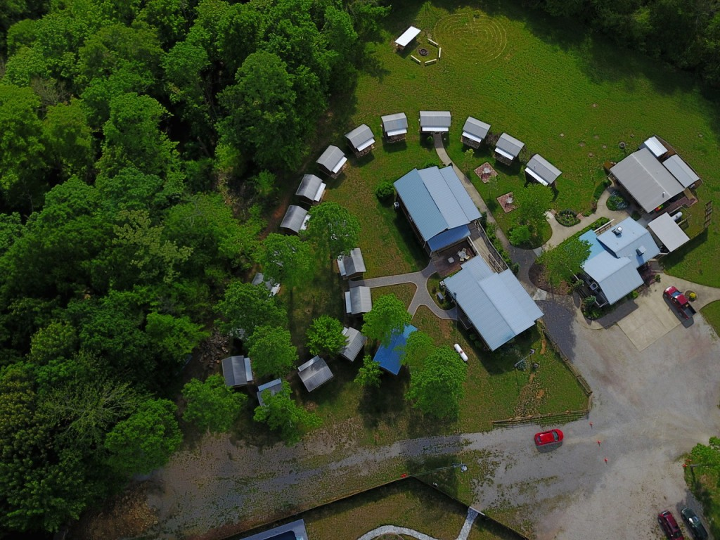 An aerial shot of Fur Peace Ranch, taken by Jorma Kaukonen. (Photo by Jorma Kaukonen)