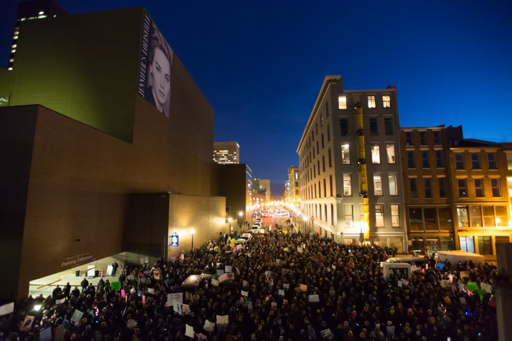 As a response to the January 2017 travel ban, the mayor of Louisville hosted the Rally for American Values in downtown Louisville. (Tyler Franklin)