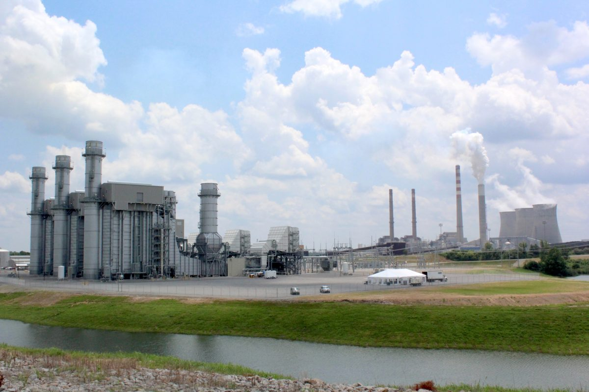 TVA's new gas fired facility, with the older coal units in background. (Becca Schimmel/ Ohio Valley ReSource)