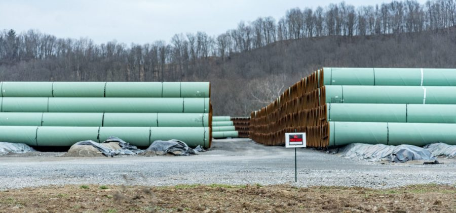Pipeline awaits installation in a natural gas project.