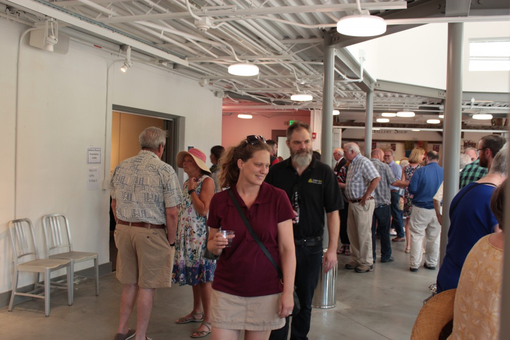 Patrons mill about the new welcome lobby at the Dairy Barn Arts Center. (WOUB/Emily Votaw)