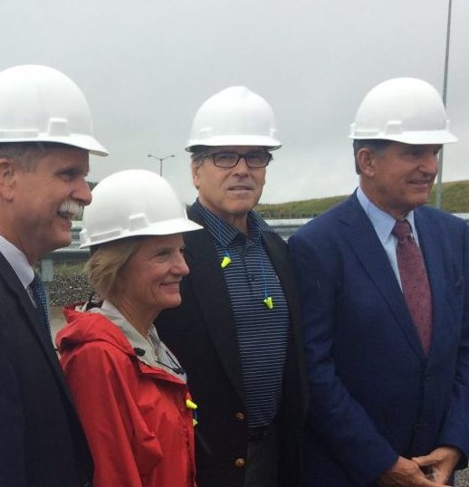 Energy Secretary Rick Perry (second from right) and West Virginia lawmakers tour a power plant. (Glynis Board/ Ohio Valley ReSource)