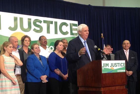 Jim Justice announces his campaign for governor of West Virginia. (Ashton Marra/ WVPB)