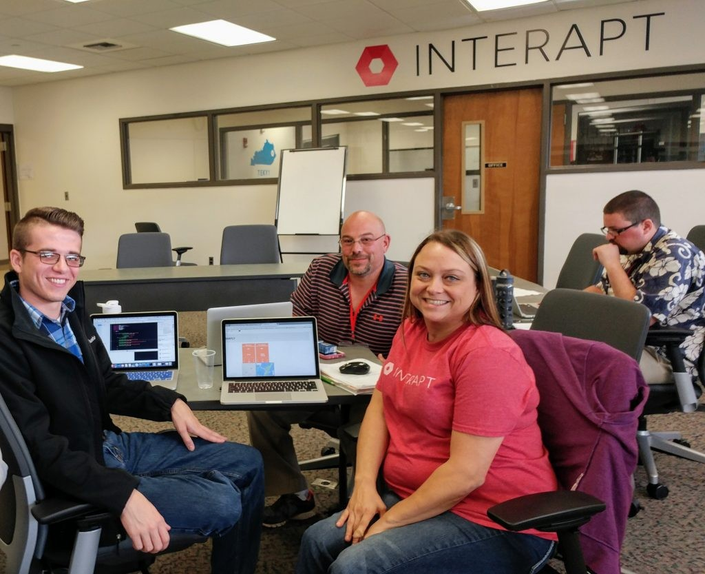 Andrew Noble, Chad Trador, and Melissa Anderson are interns with TechHire Eastern Kentucky. (Benny Becker/ Ohio Valley ReSource)