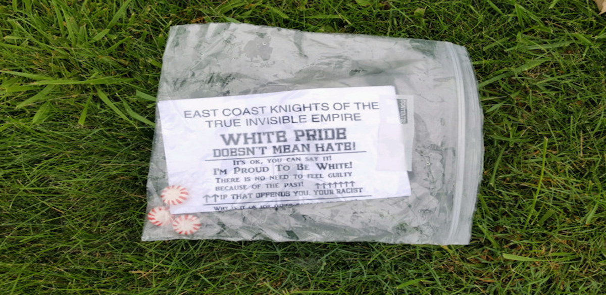 A plastic baggy found in Wooster containing candy and a recruitment leaflet.   (Wooster/Orrville NAACP)